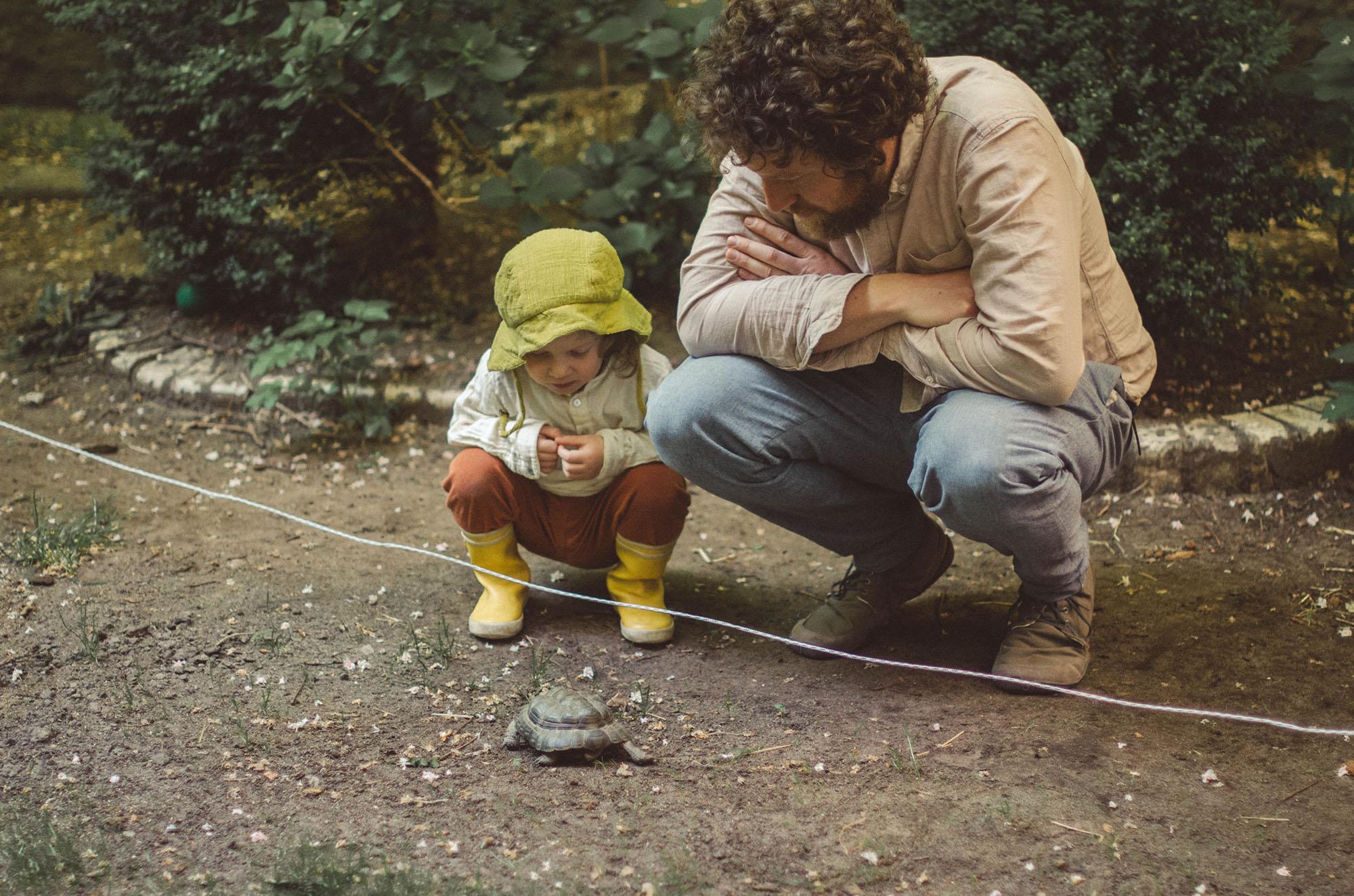 Vater und Kind beobachten Schildkröte, fotoshooting familie Freiburg