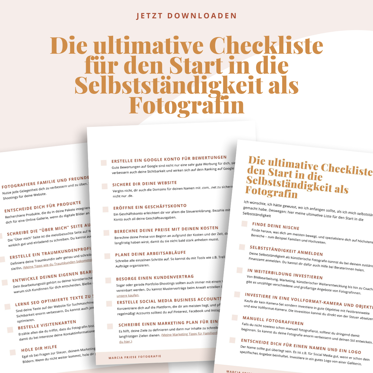 Checkliste für den Start in die Selbstständigkeit als Fotograf