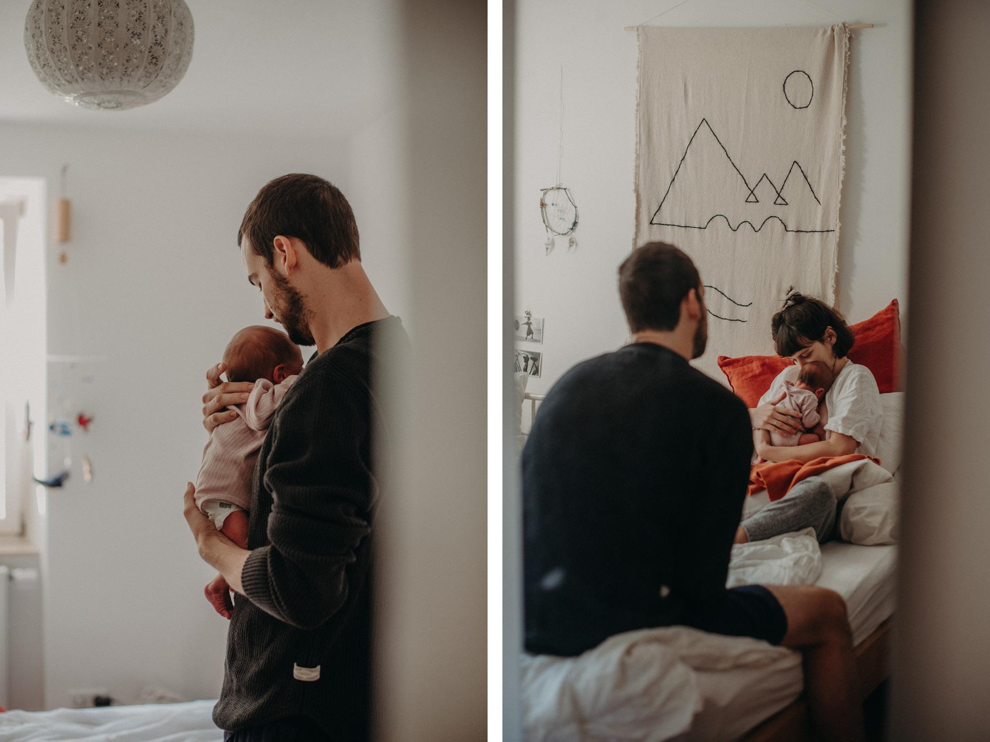 Vater mit Neugeborenen auf dem Arm, Blogpost Babyfotoshooting selber machen, Fotografin Freiburg