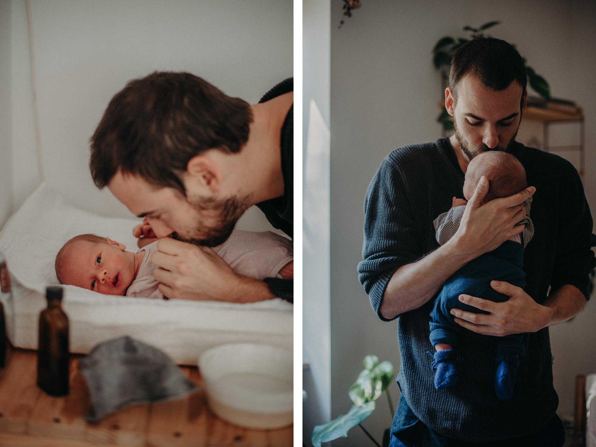 Vater mit Neugeborenen, Blogpost Babyfotoshooting selber machen, Fotografin Freiburg